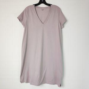 Madewell T-shirt Dress V Neck Purple Gray L3747 L